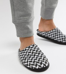 ASOS DESIGN slip on slippers in black and white diagonal checkerboard - Black