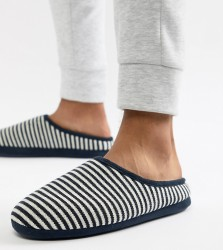 ASOS DESIGN slip on slippers in navy and white stripe - Navy