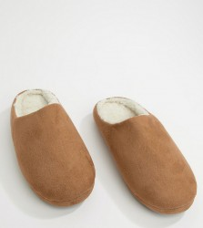 ASOS DESIGN slip on slippers in tan with faux shearling lining - Tan