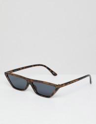 ASOS DESIGN small cat eye flat brow sunglasses in tort - Brown