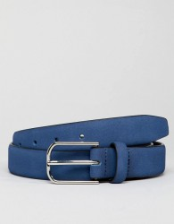 ASOS DESIGN Smart Faux Leather Slim Belt In Navy With Silver Buckle - Navy