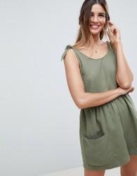 ASOS DESIGN Smock Playsuit With Tie Shoulder - Green
