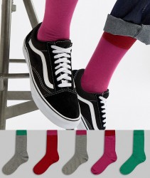ASOS DESIGN Socks In Pinks & Greens With Contrast Welts 5 Pack - Multi
