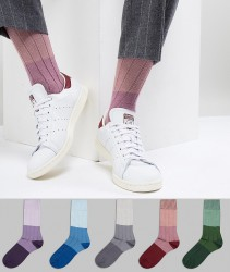 ASOS DESIGN Socks In Tricolour Tonal Rib 5 Pack - Multi