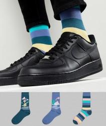 ASOS DESIGN Socks With Desert Design & Stripes 3 Pack - Multi
