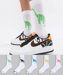 ASOS DESIGN Socks With Dinosaur Design 5 Pack - Multi