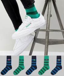 ASOS DESIGN Socks With Monster Stripe Design 5 Pack - Multi