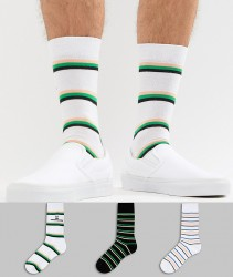 ASOS DESIGN Socks With Unimpressed Stripe Design 3 Pack - Multi