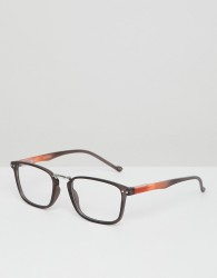 ASOS DESIGN square glasses in black with clear lens - Black