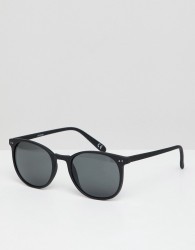 ASOS DESIGN square sunglasses in matte black with smoke lens - Black