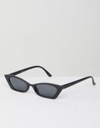 ASOS DESIGN squared off narrow cat eye sunglasses - Black
