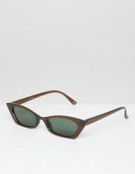 ASOS DESIGN squared off narrow cat eye sunglasses - Brown