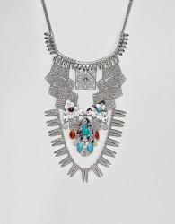 ASOS DESIGN Statement Adorned Stoneset Necklace - Silver