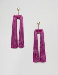 ASOS DESIGN Statement Double Tassel Earrings - Pink