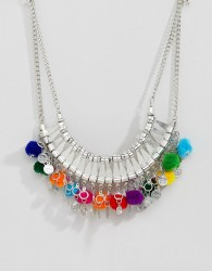 ASOS DESIGN Statement Engraved Collar Necklace With Pom Poms - Silver
