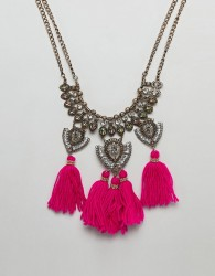 ASOS DESIGN Statement Engraved Iridescent Jewel And Tassel Bib Necklace - Gold