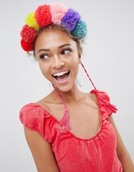 ASOS DESIGN Statement Festival Pom Pom Headband - Multi