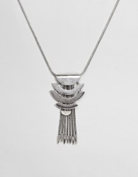 ASOS DESIGN Statement Flat Curved Bar And Tipped Chain Tassel Necklace - Silver