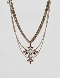 ASOS DESIGN statement multirow necklace with vintage cross pendant - Gold