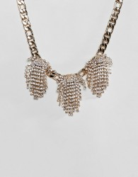 ASOS DESIGN statement necklace with crystal clusters and chunky chain in gold - Gold