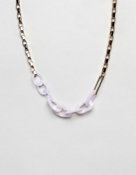 ASOS DESIGN statement necklace with oversized resin and metal link chain in gold - Gold