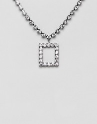 ASOS DESIGN statement necklace with rectangle pendant in crystal - Clear