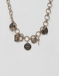 ASOS DESIGN statement necklace with vintage style charms and icon pendants in gold - Gold
