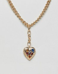 ASOS DESIGN statement necklace with vintage style heart locket with jewels in gold - Gold