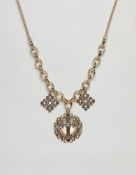 ASOS DESIGN statement necklace with vintage style pendants with cross design and pearls in gold - Gold