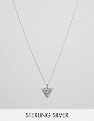 ASOS DESIGN Sterling Silver Necklace With Embossed Triangle Pendant - Silver