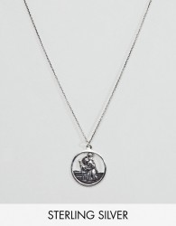 ASOS DESIGN sterling silver St. Christopher cut out pendant necklace - Silver