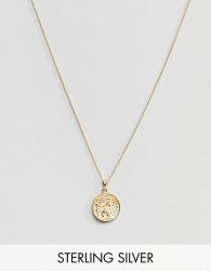 ASOS DESIGN Sterling Silver St Christopher Necklace With Gold Plating - Gold