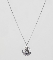 ASOS DESIGN sterling silver vintage style st. christopher cut out pendant necklace - Silver
