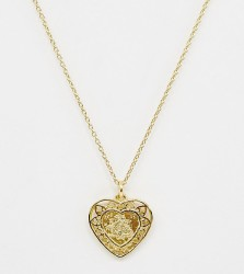ASOS DESIGN sterling silver with gold plate heart pendant necklace with dragon design - Gold
