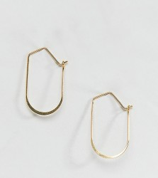 ASOS DESIGN Sterling silver with gold plate hoop earring in oval design - Gold