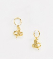 ASOS DESIGN sterling silver with gold plate hoop earrings in snake design - Gold