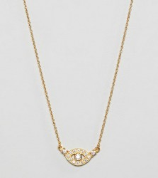 ASOS DESIGN Sterling silver with gold plate necklace in crystal eye design - Gold