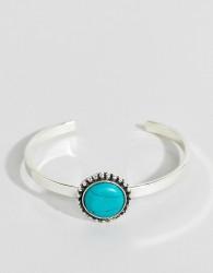 ASOS DESIGN Stone Cuff Bracelet - Silver