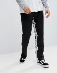 ASOS DESIGN Straight Smart Trouser With Insert Stripe & Popper Hem - Black