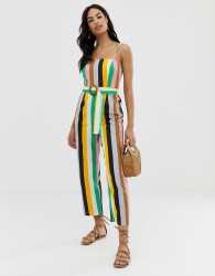 ASOS DESIGN strappy pinny belted jumpsuit in stripe print - Multi