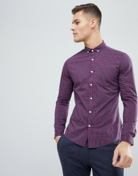 ASOS DESIGN stretch slim check shirt - Red