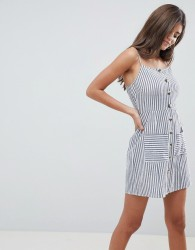 ASOS DESIGN stripe button through linen mini sundress - Multi