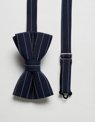 ASOS DESIGN striped bow tie in navy - Navy