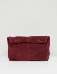 ASOS DESIGN suede soft roll top clutch bag - Red