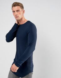 ASOS DESIGN super longline muscle fit long sleeve rib t-shirt with curved hem in navy - Navy