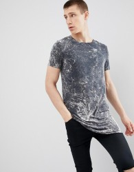 ASOS DESIGN super longline t-shirt with curved hem in grey bleach wash - Grey