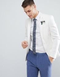 ASOS DESIGN Super Skinny Blazer In White Linen - White