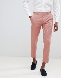 ASOS DESIGN super skinny crop smart trousers in dusky pink cotton sateen - Pink