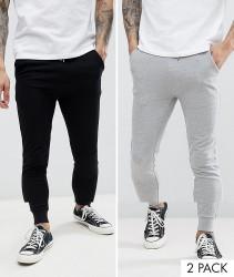 ASOS DESIGN super skinny joggers 2 pack black/grey marl - Multi