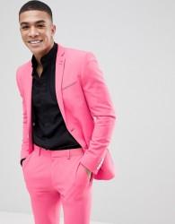 ASOS DESIGN Super Skinny Suit Jacket In Pink Lemonade - Pink